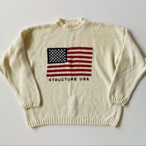 Structure | Vtg American Flag Sweater Mock Neck